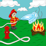 Fireman. Using fire hose and hydrant spraying water over campfire Stock Photos