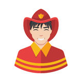 Fireman vector icon. Illustration of fireman icon in uniform Royalty Free Stock Photos