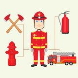 Fireman. Vector illustration of fireman with fire brigade Stock Image