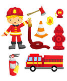 Fireman Vector Set royalty free illustration