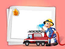 A fireman with a water hose and a truck. Illustration of a fireman with a water hose and a truck Royalty Free Stock Image