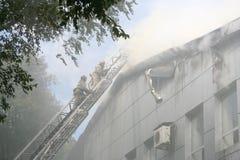Fireman wearing a gas mask Royalty Free Stock Photo