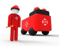 Fireman whit Firetruck concept. 3D render image representing an fireman with a fire truck Royalty Free Stock Photos