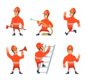 Fireman on the work. Different action poses. Cartoon fireman character, firefighter man in uniform, vector illustration Royalty Free Stock Photo