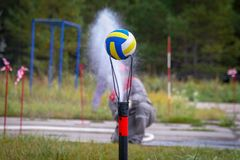 The fireman works with a hose royalty free stock image