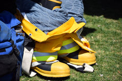 Firemans Pants and Boots Stock Images