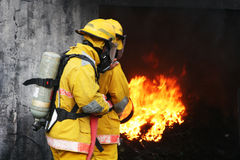 Firemen. Two firefighter are preparing to put out a fire royalty free stock images