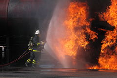 Firemen. In Sweden fighting fire Stock Photography