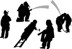 Firemen in action set. vector silhouettes Royalty Free Stock Images