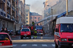 Firemen in action in Turin Royalty Free Stock Photo