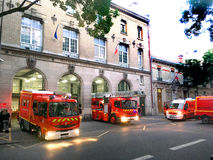 Firemen alert Paris. Firefighter alert in fire station in Paris in France Stock Image