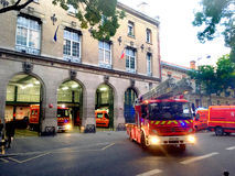 Firemen alert Paris. Firefighter alert in fire station in Paris in France Stock Photo