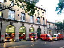 Firemen alert Paris. Firefighter alert in fire station in Paris in France Royalty Free Stock Photography