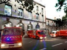 Firemen alert Paris. Firefighter alert in fire station in Paris in France Royalty Free Stock Image