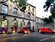Firemen alert Paris. Firefighter alert in fire station in Paris in France Stock Photography
