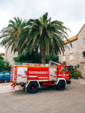 Firemen building in Perast. Fire Department. Montenegro, Kotor Bay stock image