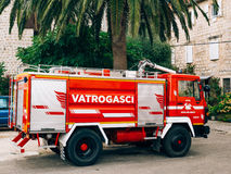 Firemen building in Perast. Fire Department. Montenegro, Kotor Bay royalty free stock images