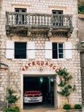 Firemen building in Perast. Fire Department. Montenegro, Kotor Bay stock photos