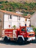Firemen building in Perast. Fire Department. Montenegro, Kotor Bay royalty free stock photos