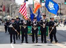 Firemen in ceremonial full uniform Royalty Free Stock Photos