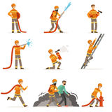 Firemen characters doing their job and saving people set. Firefighter in different situations cartoon vector. Illustrations isolated on white background Stock Image