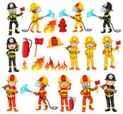 Firemen and equipments set Royalty Free Stock Image