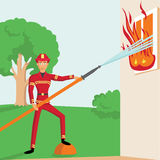 Firemen fights with fire. Royalty Free Stock Photography