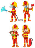 Firemen. Illustration of fireman with different poses Royalty Free Stock Photography