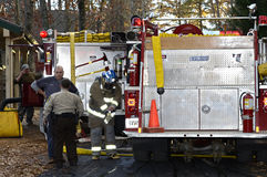 Firemen and Police on Site Getting Ready Stock Photos