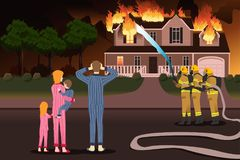 Firemen Putting Out Fires of a Burning Home vector illustration