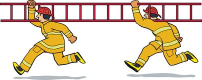 Firemen running with ladder. Two firemen in a hurry and carrying a ladder Stock Images