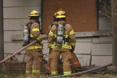 Firemen on scene stock image
