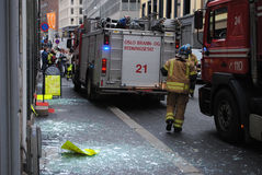 Firemen after terror attack in Oslo. Firemen at work shortly after terrorist bomb attack in Oslo, Norway Stock Photography