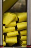 Firemen truck yellow water hoses Stock Image
