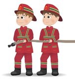 Firemen Vector. Cartoon character equiped. Template illustration. S Stock Image