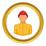 Firemen vector icon. In golden circle, cartoon style isolated on white background Stock Photos
