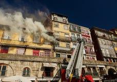 Firemen during work, Porto city Stock Image