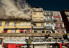 Firemen during work, Porto city Stock Photo