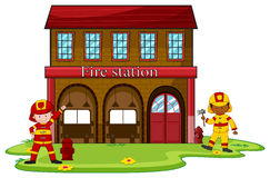 Firemen working at the fire station. Illustration Royalty Free Stock Image
