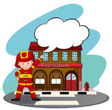 Firemen working at the fire station. Illustration Stock Image