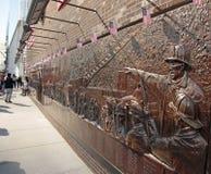 Firemens纪念墙壁,爆心投影, WTC, NYC 库存照片
