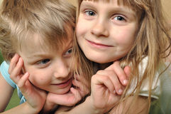 Firendship. Close-up portrait of a dreamy children couple Royalty Free Stock Photo