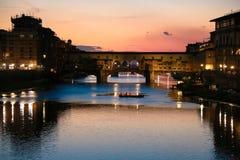 Firenze город освещает место ночи Стоковые Фотографии RF