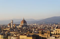 Firenze city view with Duomo - Cattedrale di Santa Maria del Fiore. Panoramic view of Florence and Santa Maria del Fiore Domus taken from Piazzale Michelangelo Stock Photos