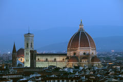 Firenze Duomo. Cathedral of Florence Italy, At Night from the Michelangelo's Piazza Stock Photos