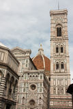 Firenze - Famous Tower of Campanile di Giotto wtith Duomo di Fir. View of famous Tower of Campanile di Giotto near Cathedral and Duomo di Firenze royalty free stock photos