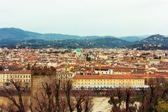 Firenze, flod och broar från Piazzale Michelangelo, Florence Royaltyfri Bild
