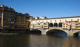 FIRENZE - Florence ponte vecchio. City view of Firenze, the ponte vecchio in the river Arno stock photography