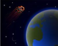 Firenze a forma di stella enorme vola vicino al pianeta Terra La probabilità di una catastrofe mondiale royalty illustrazione gratis