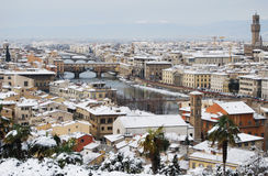 Firenze ha nevicato paesaggio Fotografia Stock